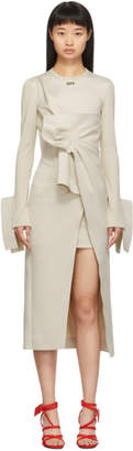 Off-White Off White Beige Wrap Shirt Dress