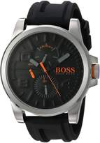 HUGO BOSS BOSS Orange Men's 'DETROIT SPORT' Quartz Stainless Steel and Silicone Casual Watch, Color: (Model: 1550006)