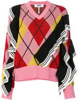 MSGM patterned V-neck sweater