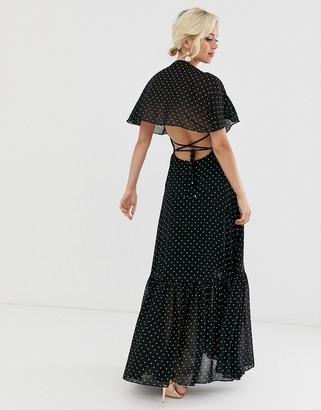Forever New cap sleeve maxi dress with back detail in polka dot print-Multi