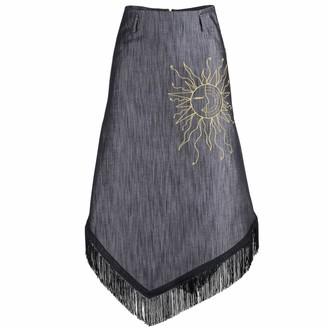 Muza Fringed Denim Skirt With Asymmetric Hem