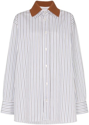 Plan C Removable Collar Stripe Print Cotton Shirt