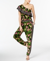 INC International Concepts Petite Printed One-Shoulder Jumpsuit, Created for Macy's