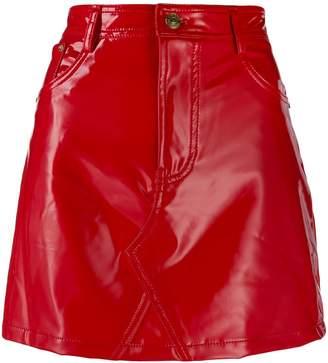 Chiara Ferragni wet look mini skirt