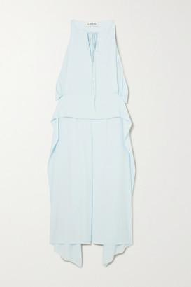 Lanvin Cutout Draped Crepe De Chine Midi Dress - Blue