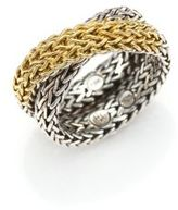 John Hardy Classic Chain 18K Yellow Gold & Sterling Silver Ring