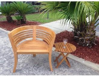 Chic Teak Waxed Teak Wood Half Moon Dining Chair