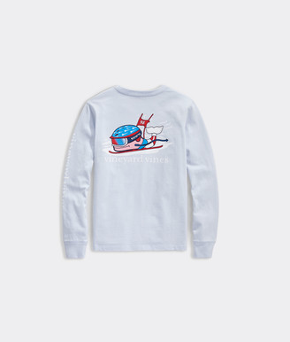 Vineyard Vines Girls' Ski Race Whale Long-Sleeve Pocket Tee