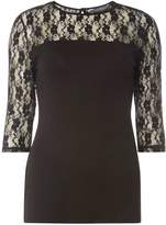 **Tall Black Lace 3/4 Sleeve Top