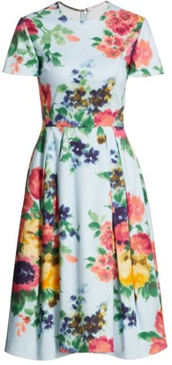Carolina Herrera Floral A-Line Dress