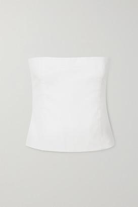 KHAITE Percy Cotton-twill Bandeau Top - White