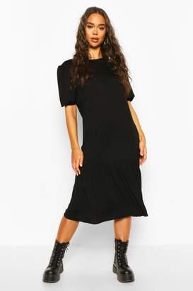 boohoo Puff Sleeve Drop Hem Midi Dress