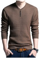 BOMOVO Mens Slim Fit Light Weight V-Neck Pullover Long Sleeve Sweater