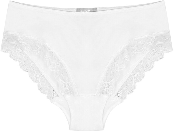 Thumbnail for your product : Hanro White Lace-trimmed Briefs