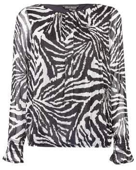 Dorothy Perkins Womens **Billie & Blossom Multi Colour Zebra Print Long Sleeve Blouse