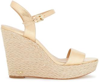 MICHAEL Michael Kors Jill Metallic Leather Espadrille Wedge Sandals