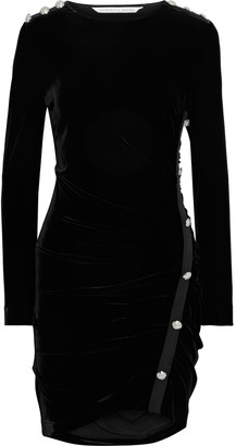 Veronica Beard Ira Button-embellished Ruched Stretch-velvet Mini Dress