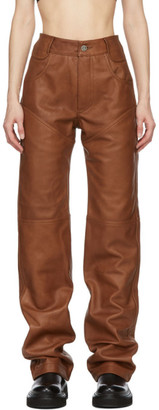 Telfar Brown Leather Boot Cut Trousers