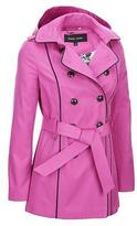 Black Rivet Womens Classic Hooded Fabric Double-Breasted Trench Coat