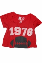 Rebel Yell 1978 Football Boyfriend Cropped Tee in Red