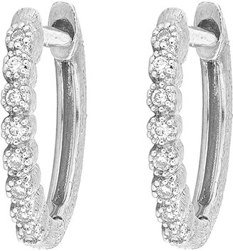 Jude Frances Delicate Provence Champagne Hoop Earrings, White Gold