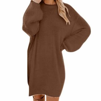 NEEDRA Sales Sweaters Women Ladies Long Line Knitted Dress Wool Dressy Loose Tunic Dress Gray