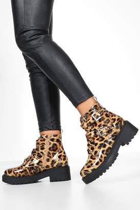 boohoo Leopard Patent Neon Lace Hiker Boots