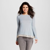 Xhilaration Women's Lace-trim Open-back Long Sleeve Knit Juniors')