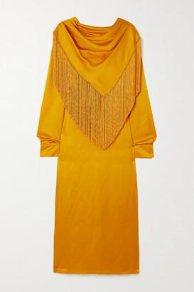 Gabriela Hearst Fringed Draped Silk-cloque Midi Dress - Tomato red