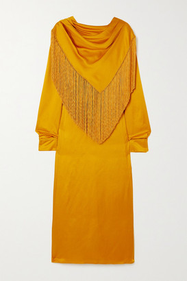 Gabriela Hearst Fringed Draped Silk-cloque Midi Dress - Yellow