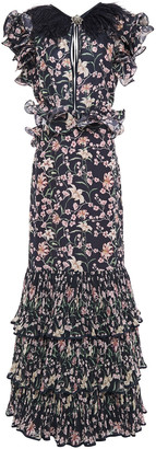 Johanna Ortiz Tiered Feather-trimmed Pleated Floral-print Gown