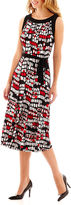 JCPenney Perceptions Sleeveless Print Dress with Tie Belt