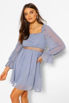 boohoo Dobby Square Neck Lace Detail Skater Dress