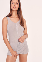 Missguided Ribbed Tank Top and Short Pj Set Grey