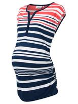 Jeanswest Joselyn Maternity Stripe Henley-Multi Stripe Cayenne-XS