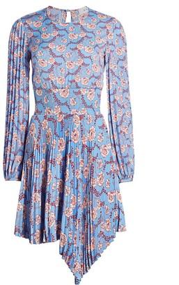 A.L.C. Behati Asymmetrical Hem Pleated Mini Dress