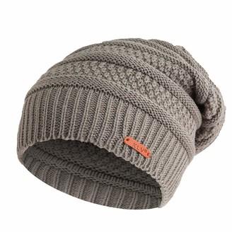 Moginp Unisex Baggy Warm Windproof Warm Crochet Hats Outdoor Winter Wool Knit Ski Beanie Skull Slouchy Caps Hat (Gray)