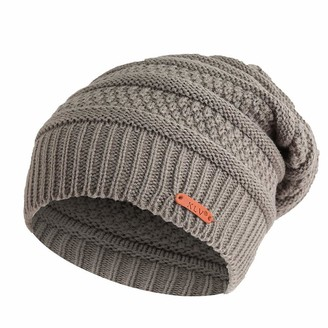 VECDY Winter Large Warm Wool Hat Solid Color Multi-Color Multi-Layer Striped Knit Hat Outdoor Ear Protection Casual Cap Gray