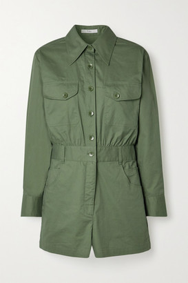 Tibi Cotton-twill Playsuit - Army green