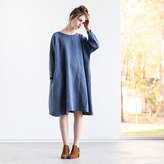 Etsy Oversized loose fitting linen dress with DROP SHOULDER long sleeves in denim color (fades)/ Washed l