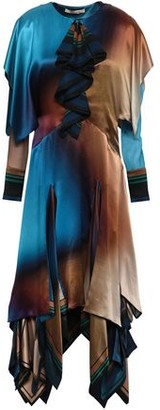 Roberto Cavalli Tiered Color-block Silk-satin Midi Dress