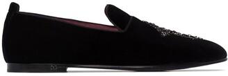 Dolce & Gabbana Vatican embellished velvet slippers