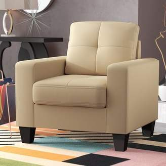 BEIGE Buncombe Armchair Latitude Run Fabric Faux Leather