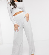 Loungeable mix & match soft knit wide leg jogger in gray stripe