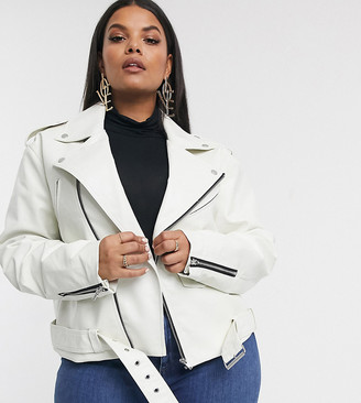 ASOS DESIGN Curve oversized leather look biker jacket in white