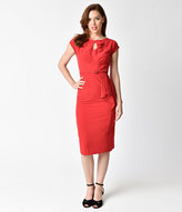 Stop Staring 1940s Style Red Fitted Timeless Wiggle Dress