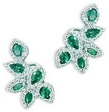 Bloomingdale's Emerald and Diamond Leaf Earrings in 14K White Gold - 100% Exclusive