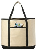 "Canvas Tote Beach Bag, Black - 22"" x 16"" - Heavy duty cotton, shoulder straps, zippered pocket, canvas bags are double-stitched on all seams for durability to handle wet towels and beach gear."