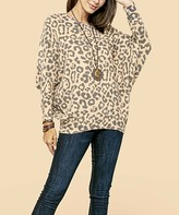 Dolce Bianca Women's Pullover Sweaters Camel - Camel Cheetah Print Dolman Tunic - Women