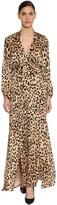 Temperley London Leopard Print Silk Satin Dress